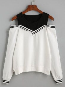 Black Varsity Striped Contrast Open Shoulder Sweatshirt