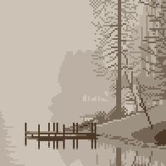 pixel art Misty Dock by piq How To Pixel Art, Cool Pixel Art, Cool Art, Pixel Art Program, Pixel Art Maker, 8 Bit Art, Weird Art, Game Ideas, Sprites