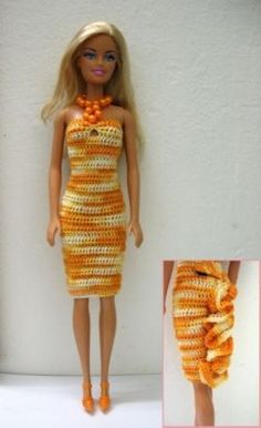 Well, Barbie doll has always been my favorite doll - grown-up, elegant, beautiful, sexy... Unfortunately most outfits available in local stores can't be called elegant. So I have to make them myself. For example, this variegated orange dress with...