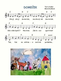 Domeček - k poh. Music For Kids, Kids Songs, Piano, Fairy Tales, Preschool, Language, Diagram, Activities, Indiana