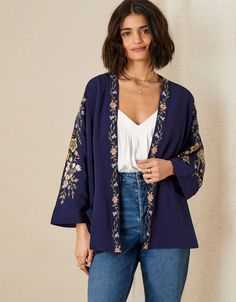 Floral Embroidered Short KImono Blue | Women's Jackets | Monsoon UK. Coats For Women, Jackets For Women, Clothes For Women, Women's Jackets, Black Kimono Outfit, Monsoon Uk, Short Kimono, Embroidered Shorts, Kimono Jacket
