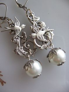 Silver Swallow Birds with Leaves and Pearls Dangle by liliswan