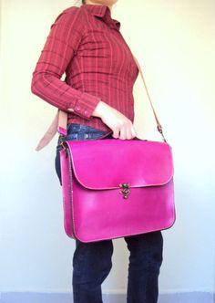 Magenta Pink Leather Laptop Bag Fuchsia Leather by ammaciyo, $124.00