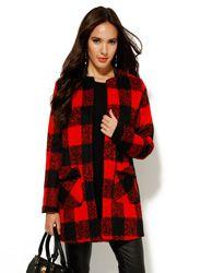 Abrigo mujer manga larga pelo corto cuadros rojo Abrigos Rojos 0e39073dbf2e