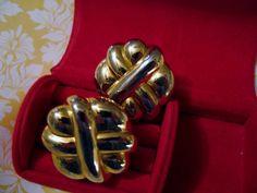 Designer Carolee Earrings 80's Big Bold Modernist Design Clip-on Gold Plated  #Carolee #Cluster