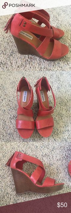 STEVE MADDEN WEDGES STEVE MADDEN WEDGES. RED/PINK/SALMON COLORED. SIZE 7. EXCELLENT CONDITION. ONLY WORN ONCE Steve Madden Shoes Wedges