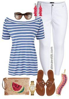 Plus Size Summer White Jeans Outfit - Plus Size Fashion for Women - alexawebb.com #alexawebb #plussize