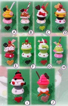 souvenirs 10 frasquitos cupcakes decorados en porcelana fría Polymer Clay Miniatures, Polymer Clay Crafts, Diy Clay, Diy Cristals, Biscuit Cupcakes, Clay Jar, Craft Desk, Clay Figurine, Clay Food