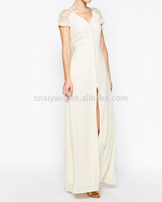 Women's clothing fashion 2015 dress design button fastening maxi sexy girl without dress
