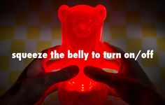 The GummyLamp features a squeezable power switch.