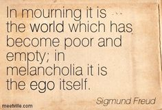 melancholia through freudian lens Mourning and melancholia (german: trauer und melancholie) is a work of  sigmund freud from the year 1917 in this essay, freud argues that mourning  and.