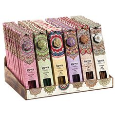 Buy Box of 72 Karma Incense in Display wholesale at competitive trade prices. Incense Cones, Incense Sticks, Incense Packaging, Pouch Packaging, Packing Box Design, Wholesale Boxes, Sandalwood Incense, Nag Champa Incense, Incense Holder