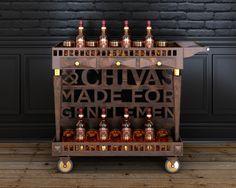 Chivas drink cart on Behance Bar Trolley, Serving Trolley, Drinks Trolley, Bar Cart, Bar Counter Design, Perrier Jouet, Drink Cart, Coffee Wine, Home Garden Design