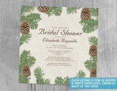 Pine Cones Bridal Shower Invitations