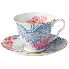Wedgwood - Harlequin Butterfly Bloom Blue Peony Cup and Saucer .... *swoon*