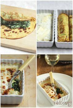 Cannelloni di crépes con spinaci e ricotta
