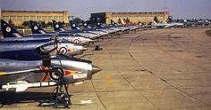 RAF Leconfield Lightning flight line 1965 Military Jets, Military Aircraft, Fighter Aircraft, Fighter Jets, English Electric Canberra, Electric Aircraft, V Force, War Jet, The Art Of Flight