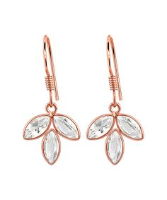 Orchid Jewelry White Topaz & Rose Gold Flower Drop Earrings | zulily