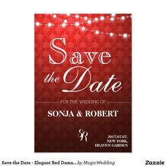 Save the Date - Elegant Red Damask Card