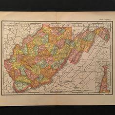 1902 Vintage Rand McNally Map of West Virginia, Original Antique Color Map