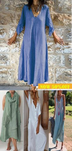 The ripple long skirt of pure cotton and comfortable fabrics can be matched at will when shopping at home. Now 50% off, click to buy now. Unique Outfits, Simple Outfits, Pretty Outfits, Cute Outfits, Boho Fashion, Fashion Outfits, Fancy Dress Accessories, Everyday Dresses, Comfortable Outfits