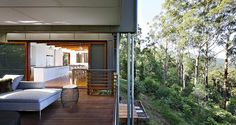 Storrs Road Residence is a contemporary property designed by Tim Stewart Architects, located in Peachester, Sunshine Coast Hinterland, Queensland, Australia. Architecture Résidentielle, Australian Architecture, Sunshine Coast, Small Modern Home, Cafe House, Property Design, Australian Homes, Design Moderne, Tropical Houses