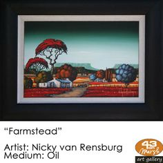 """""""Farmstead"""" Oil on canvas by Nicky van Rensburg Contact 43 on Marsh should you be interested in a work: 083 390 8000 South African Art, Artist Painting, Oil Paintings, Oil On Canvas, Art Drawings, Cool Art, Art Photography, Landscapes, Art Gallery"""