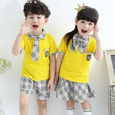 High quality sexy twins skirts shirts shorts set with ties cowboy korean japanese school girl uniform for boys student children Japanese Kids, Japanese School, School Uniform Fashion, School Uniform Girls, Kids Uniforms, School Uniforms, Stylish Little Girls, Cute Kids Photography, Ulzzang Kids