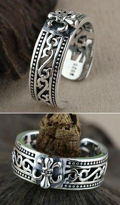 Men's Sterling Silver France Fleur De Lis Wrap Ring