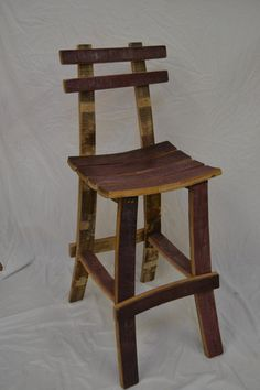 Barrel Stave Bar Stool with back