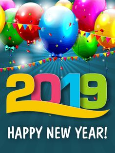 fun new year party card 2019 birthday greeting cards by davia