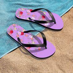 (1) Pink Red Floral Rose Print Unisex Flip-Flops Beach Pool Cute Sandals- Made in USA | Heidi Kimura Art LLC