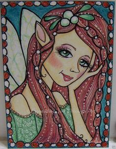 ACEO Original Art Joy Christmas Mistletoe Fairy Fae Faerie Beautiful Magic Wing  #Myown