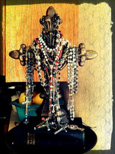 A beautiful way to display many of my special rosaries from family and all over the world.