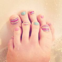 Cute Spring Summer Chevron Nails Pedicure Feet Jamberry JN Visit Megecon.JamberryNails.Net for more designs