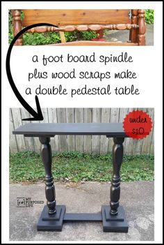 Pedestal Table Repurposed bed spindle and wood scraps make a double pedestal sofa table for under ten dollars Repurposed bed spindle and wood scraps make a double pedestal sofa table for under ten dollars Old Furniture, Refurbished Furniture, Repurposed Furniture, Furniture Projects, Furniture Making, Furniture Makeover, Painted Furniture, Vintage Furniture, Baby Furniture