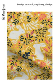 Spring Bunnies - Limited Color Palette custom fabric by red_raspberry_design for sale on Spoonflower Spoonflower, Stoff Design, Diy Ostern, Spring Design, Border Design, Designs, Custom Fabric, Fabric Design, Craft Projects