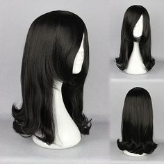 Black Straight Elegant Cosplay Costume Wig Synthetic Fiber High-Temperature Lady - Gchoic.com