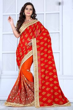 Red Faux Georgette Wedding Saree 63686  #WeddingSarees #OnlineShopping
