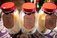 Oohhh ~ we like this! Jars for the well wishes from the guests to be read on future anniversaries. Photography by jenniferskog.com. This wedding is overflowing with fun little personal touches like this! http://StyleMePretty.com/california-weddings/2012/05/01/winters-wedding-at-bear-flag-farm-by-jennifer-skog-photographers/ Here's another shot of these jars: http://stylemepretty.com/gallery/picture/551271