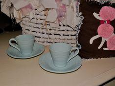 Vintage Pair Demitasse Cups Saucers by HistoryHouseAntiques