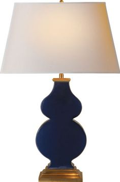 "anita table lamp  | designer Alexa Hampton  Height: 28 1/2""  Width: 18""  Base: 4 3/4"" x 7"" Rectangle  Shade Size: 14"" x 18"" x 11"" Rectangle  Wattage: 1 - 150 Watt Type A  Socket: Dimmer  price	$420.00"