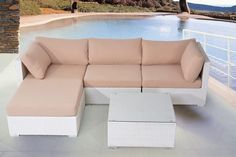 Affordable and yet super stylish, the SAVOSA outdoor seating set is the perfect investment for your patio. Get a modern patio set to upgrade your outdoor space. Stunning white wicker and high end cushions, this set is fully modular for ease-of-use. Wicker Mirror, Wicker Shelf, Wicker Trunk, Wicker Man, Wicker Baskets, Wicker Headboard, Rattan Sofa, Wicker Couch, Painting Wicker Furniture
