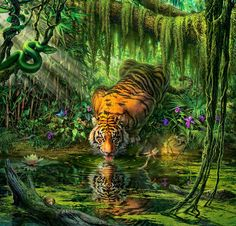 Amazing tiger piece by legendary illustrator Mark Fredrickson! The print is available here:  http://fineartamerica.com/featured/-auroras-garden-mark-fredrickson.html   #illustration #art #painting