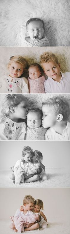 Cute newborn with siblings