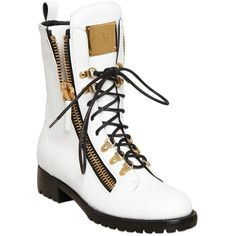 Giuseppe Zanotti Design Women 20mm Lace-up Leather Boots (€1.015) ❤ liked on Polyvore featuring shoes, boots, laced up shoes, low heel boots, genuine leather boots, zip boots and low heel leather boots