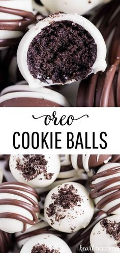 OREO Balls These OREO cookie balls are made with just 3 simple ingredients and are such an easy dessert recipe! They are fun, festive and great to make for OREO Balls These OREO cookie balls are made with just 3 simple ingredients and are such an easy . Dessert Oreo, Oreo Desserts, Chocolate Desserts, Chocolate Truffles, Appetizer Dessert, Health Desserts, Yummy Appetizers, Chocolate Cake, Best Dessert Recipes