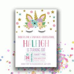 Unicorn Birthday Invitations, Unicorn Invite, Girl Bday Invitation, Magical Celebration Birthday Invites,  First Second Birthday, Bday