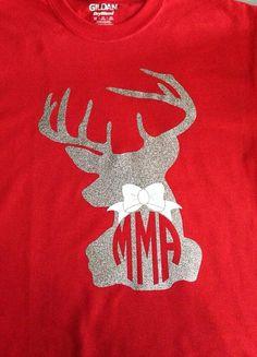 SHORT SLEEVE Deer Silhouette Monogram TShirt by YounInkBoutique, $22.00