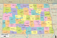 Map of State of South Dakota with outline of the state cities